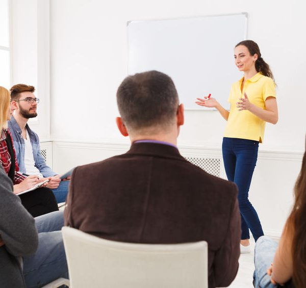 Woman doing presentation in office