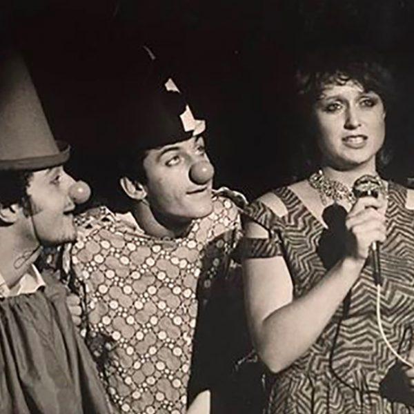 David Solomon on stage as a clown