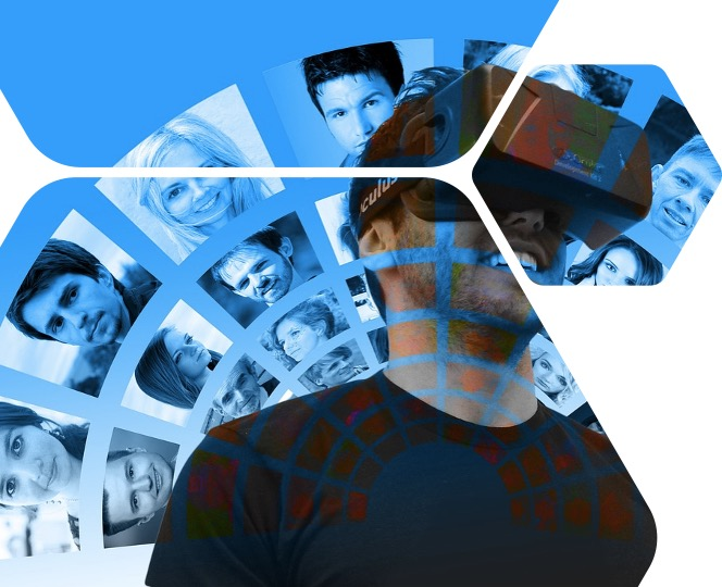 Montage image with man wearing a VR headset